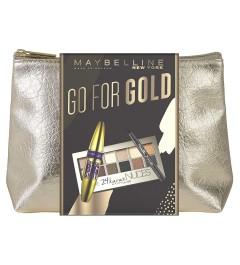 Trousse Set de maquillage Maybelline GO FOR GOLD ( mascara big shot noir + palette 24k + liner master precise noir