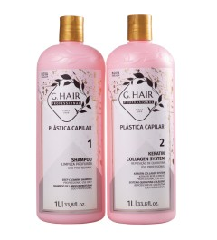 Lissage brésilien G-HAIR PLASTICA CAPILAR Kit 2x1000ml