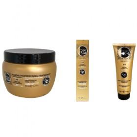 Pack de traitement KERAGOLD Kératine et Ail - Shampoing 250ml + Masque 500ml + Serum 100ml