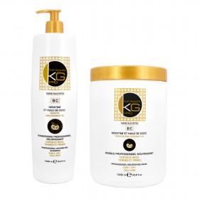 KERAGOLD PRO Shampoing + Masque 1000ml sans sulfates à la Kératine & Huile de Coco