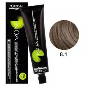 Tube Coloration Inoa 8.1 Blond Clair Cendré L'Oréal 60 ML