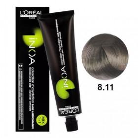 Tube Coloration Inoa 8.11 Blond Clair Cendré Profond L'Oréal 60 ML