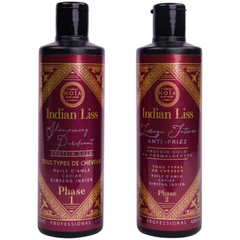 LISSAGE NOIA HAIR - INDIAN LISS -HUILE D'AMLA ,CAVIAR & GINSENG INDIEN - PROTEIN GOLD - 2 X1000ML